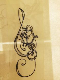 Treble Clef Tattoo Behind Ear (7)