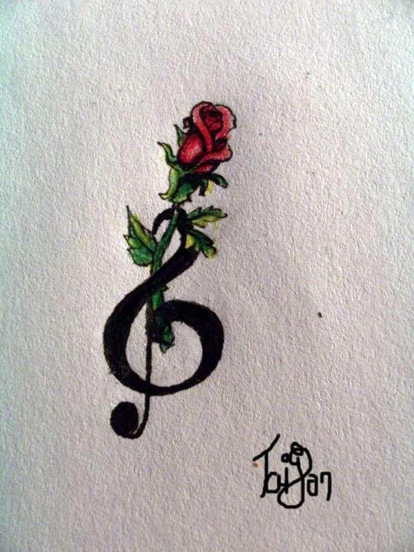 Treble Clef Tattoo Behind Ear (9)