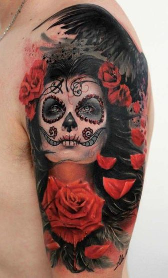 A Beautiful Photo Realistic Tattoo Of Rose Flowers And A Girl With Sugar Skull Face Paint By Alex De Pase 336x555