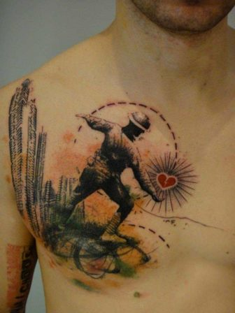 A Soldier Throws A Heart At City Buildings In This Artistic Abstract Tattoo By Xoil 336x448