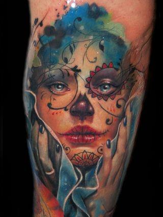 An Incredible Tattoo By Alex De Pase Of A Pretty Girl Wearing Sugar Skull Face Paint For The Day Of The Dead