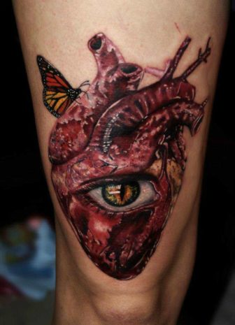 Inspired By Salvador Dali Carlox Angarita Has Created A Surrealist Tattoo Of A Human Heart Eye And Butterfly 336x465