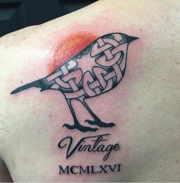 Bird With Roman Numeral Tattoos