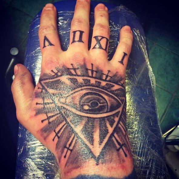 Iluminati With Roman Number Tattoos On Hand