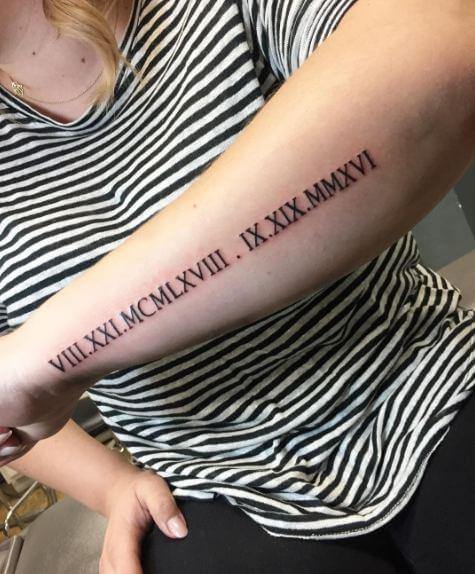 Roman Numeral Tattoos On Arm