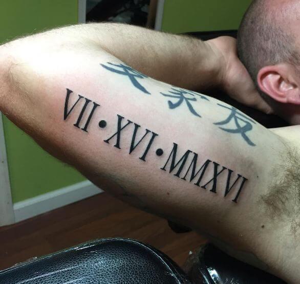 Roman Numeral Tattoos On Biceps