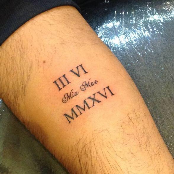 Roman Numeral Tattoos On Calf