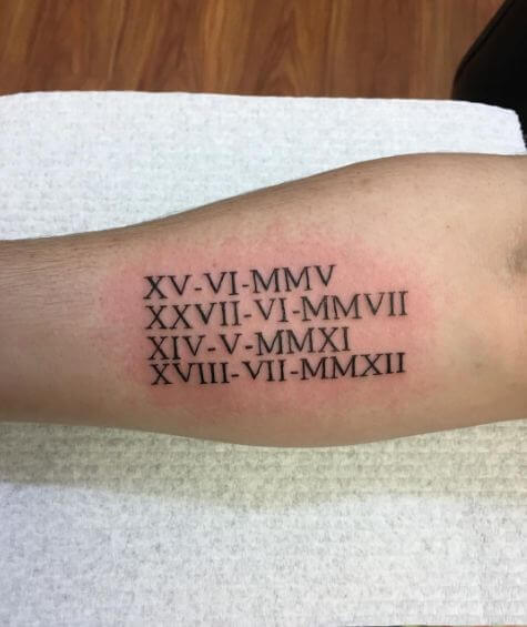 Roman Numeral Tattoos Pictures