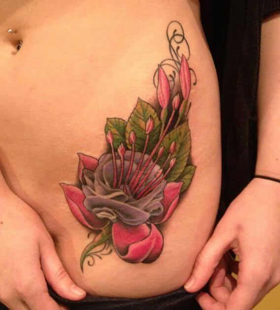 Lower Side Tattoos For Girls