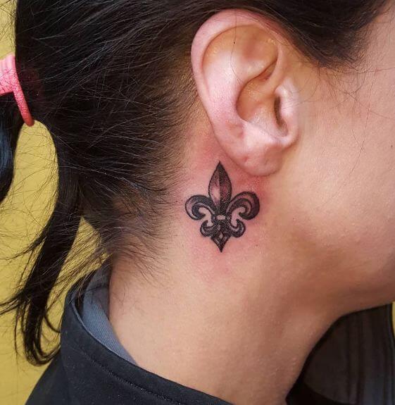 Small Fleurdelis Tattoos On Ear Behind