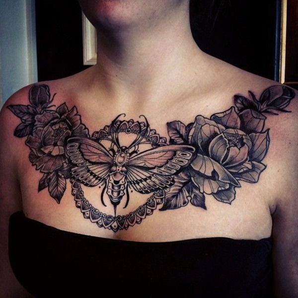 Female Chest Tattoo Pictures Ideas (194)