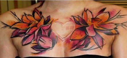 Female Chest Tattoo Pictures Ideas (203)