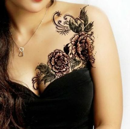 Female Chest Tattoo Pictures Ideas (23)