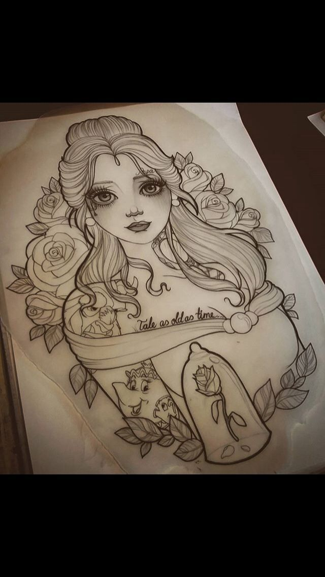Simple Small Beauty And The Beast Tattoo Designs Ideas (103)