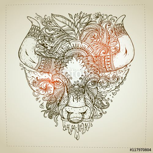Small Simple Bull Tattoo Designs (102)