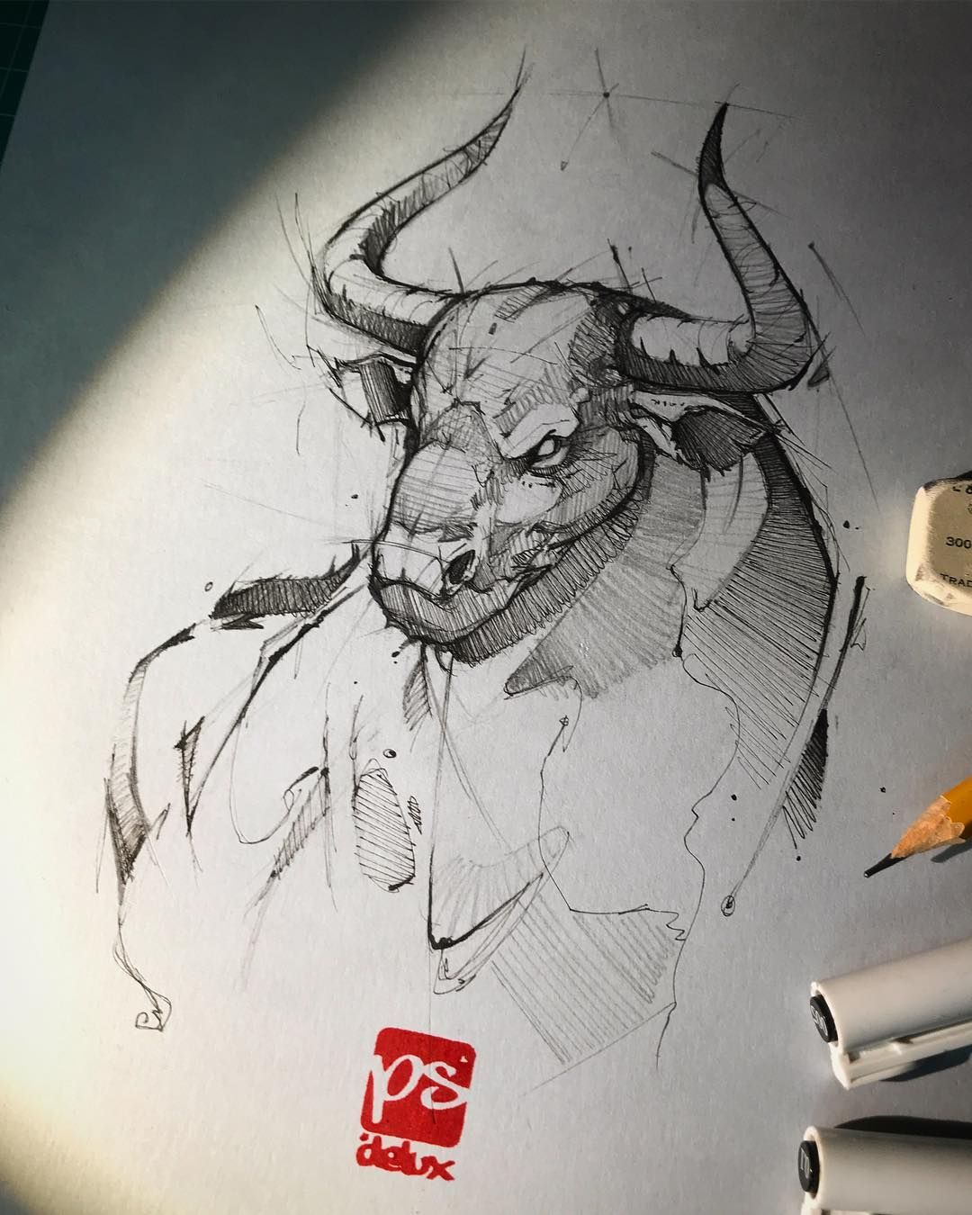 Small Simple Bull Tattoo Designs (109)