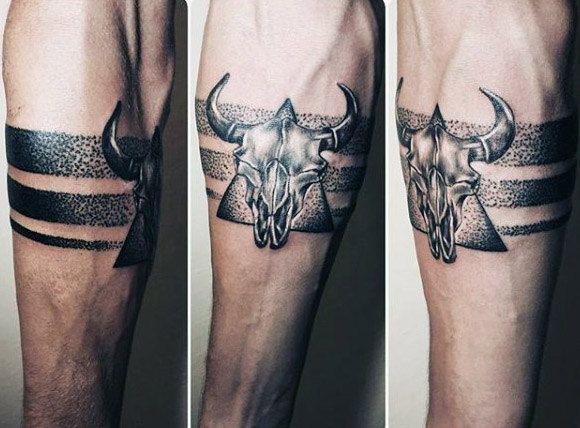 Small Simple Bull Tattoo Designs (138)