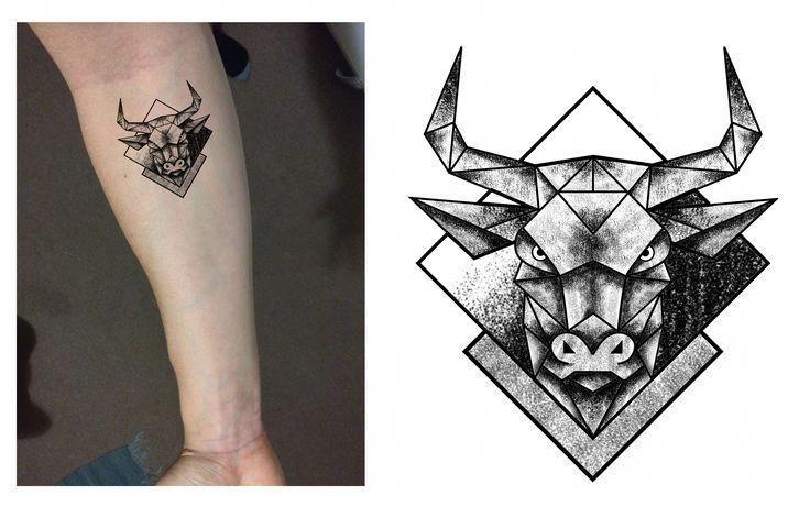 Small Simple Bull Tattoo Designs (148)
