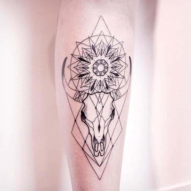 Small Simple Bull Tattoo Designs (158)