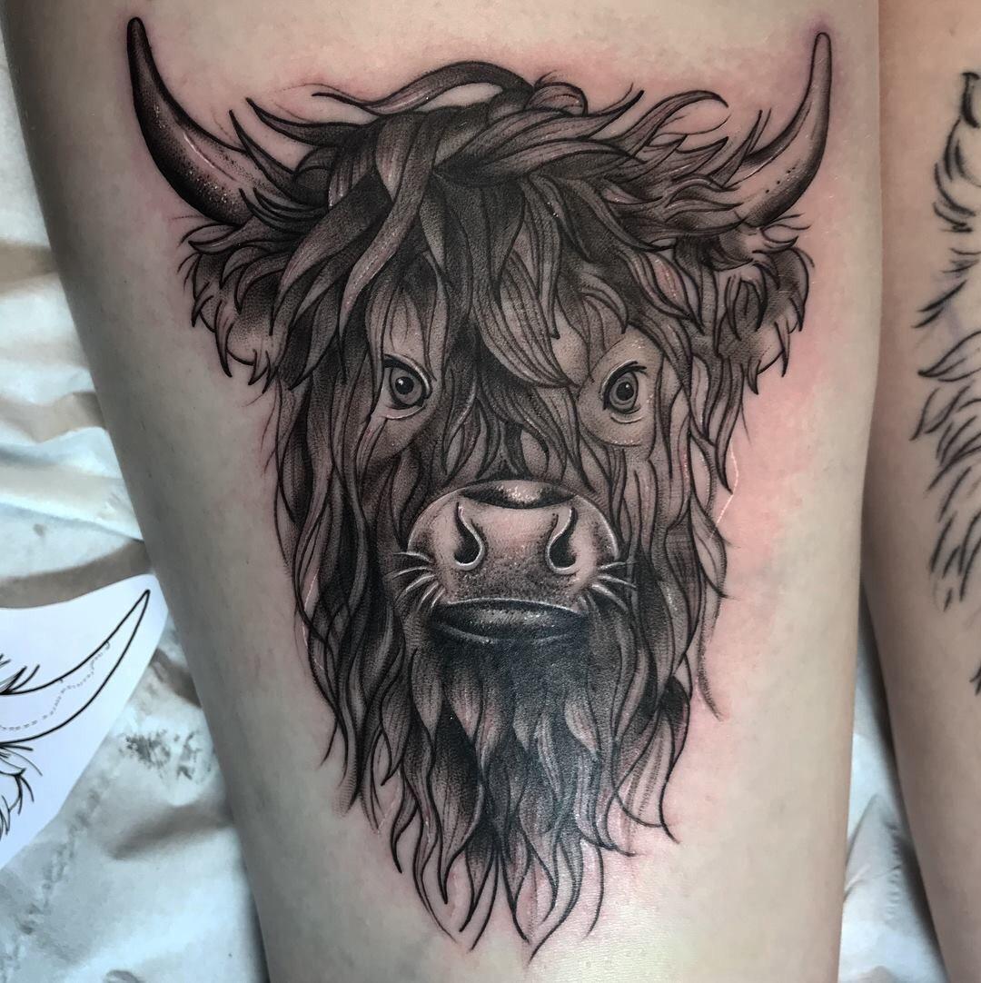 Small Simple Bull Tattoo Designs (168)