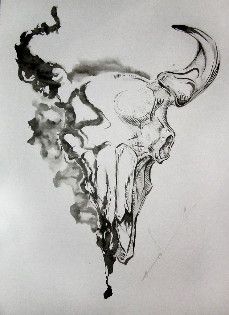 Small Simple Bull Tattoo Designs (172)