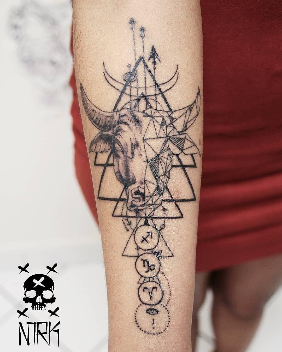 Small Simple Bull Tattoo Designs (197)
