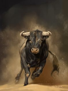 Small Simple Bull Tattoo Designs (199)