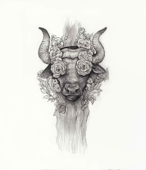 Small Simple Bull Tattoo Designs (75)