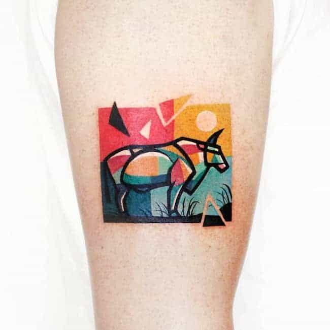 Small Simple Bull Tattoo Designs (94)