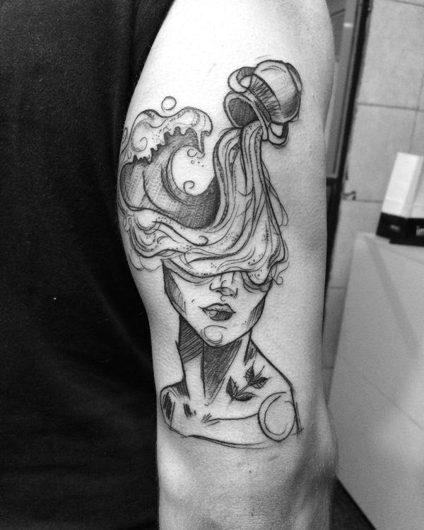 Aquarius Sign Tattoo Constellation Symbol (123)