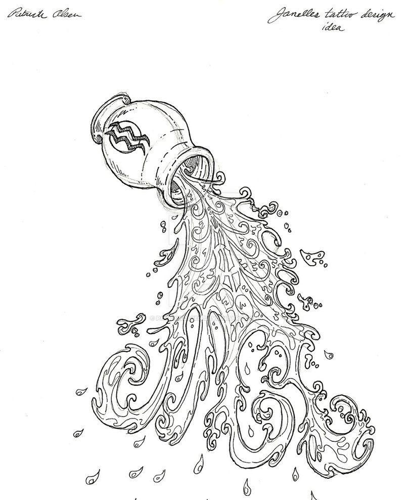 Aquarius Sign Tattoo Constellation Symbol (158)