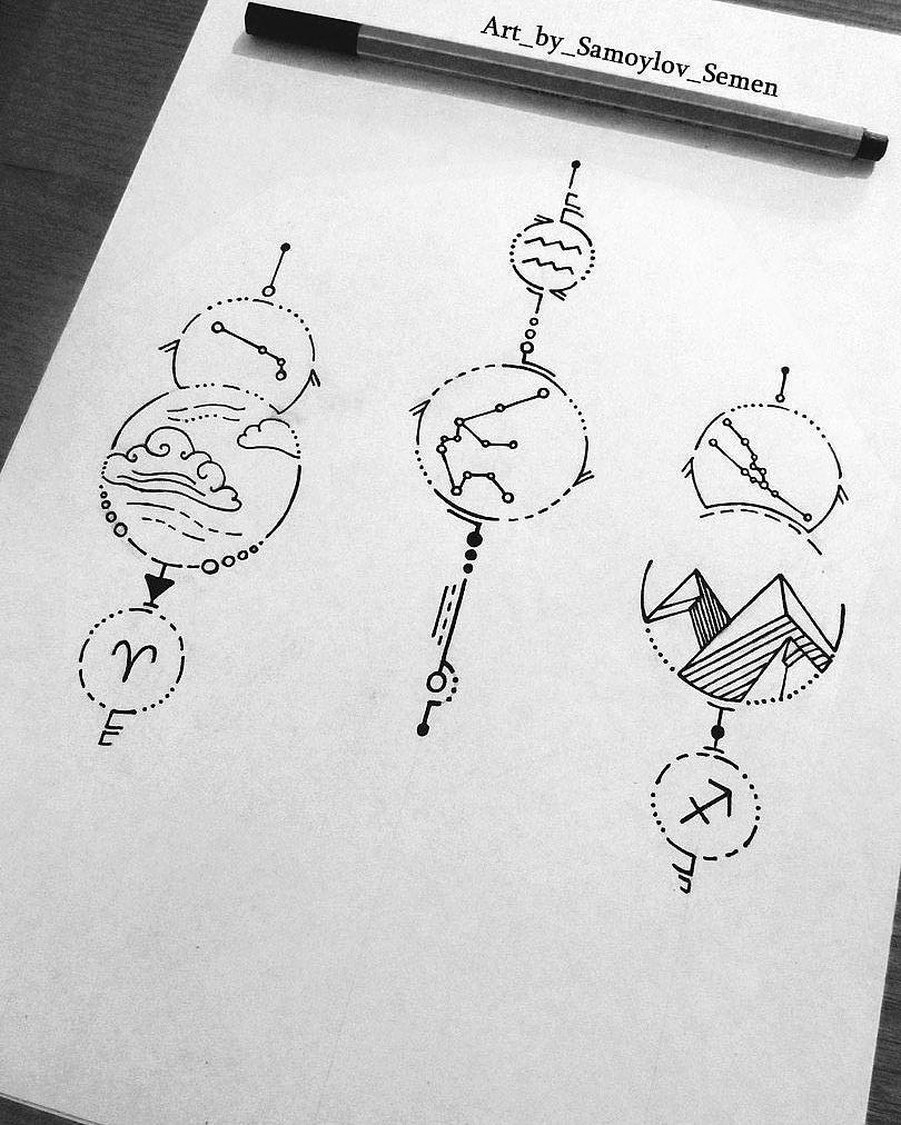 Aquarius Sign Tattoo Constellation Symbol (192)