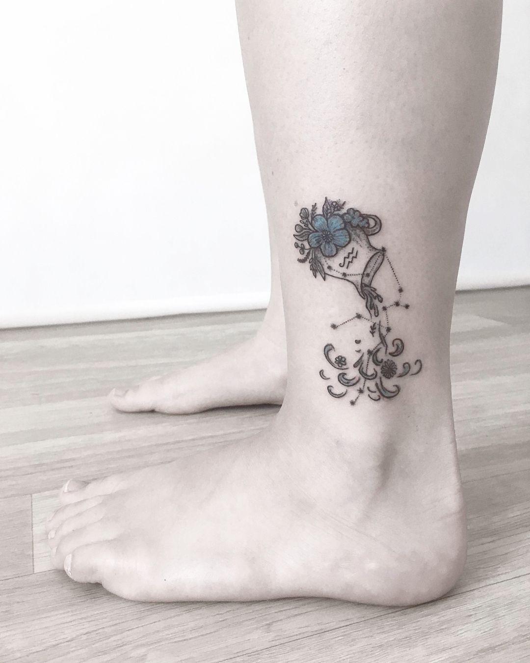 Aquarius Sign Tattoo Constellation Symbol (198)