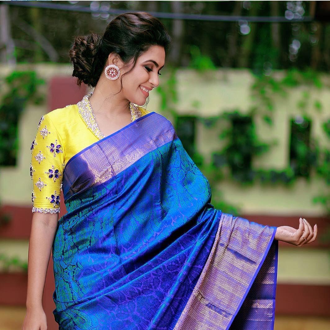 Blouse Designs For Pattu Silk Sarees (100)