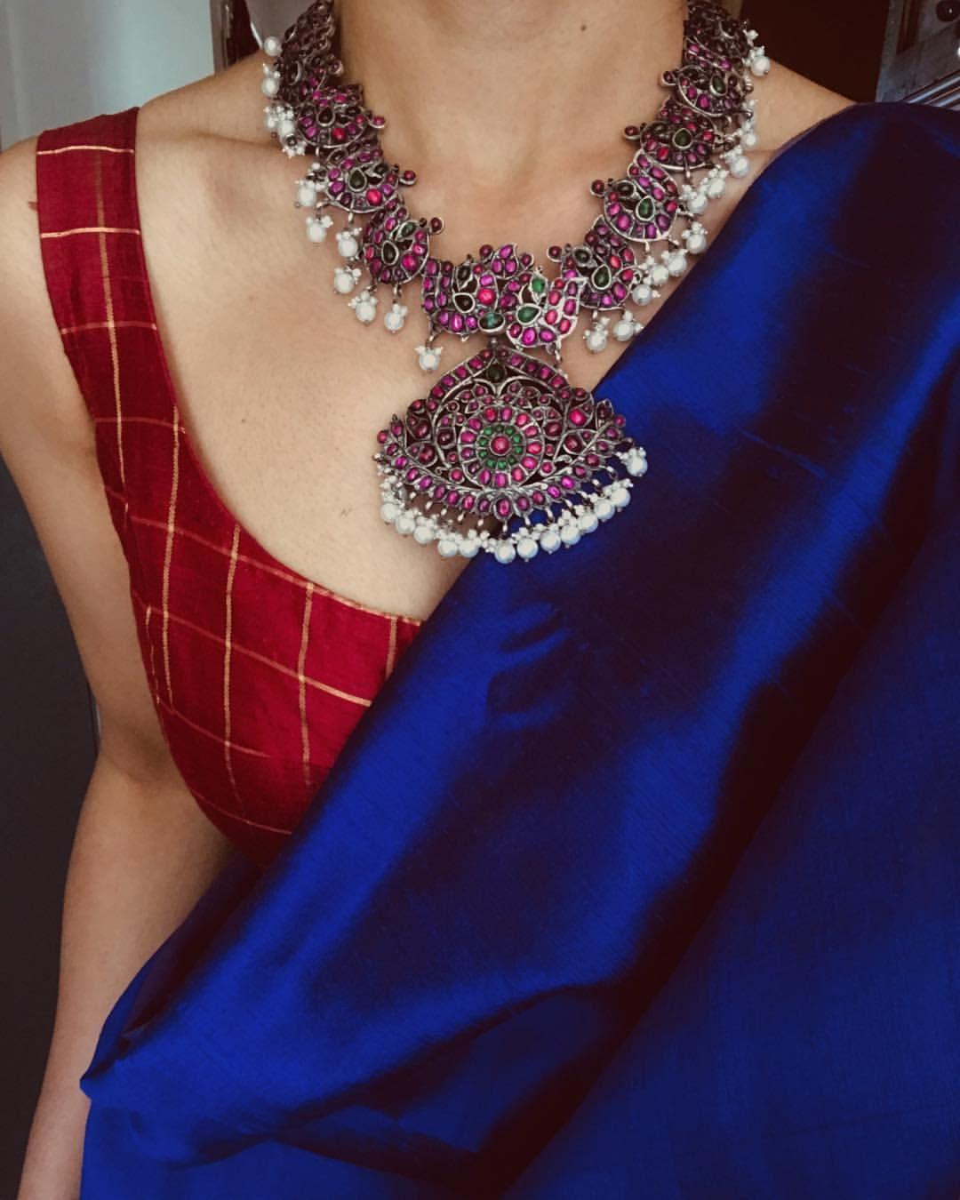 Blouse Designs For Pattu Silk Sarees (110)