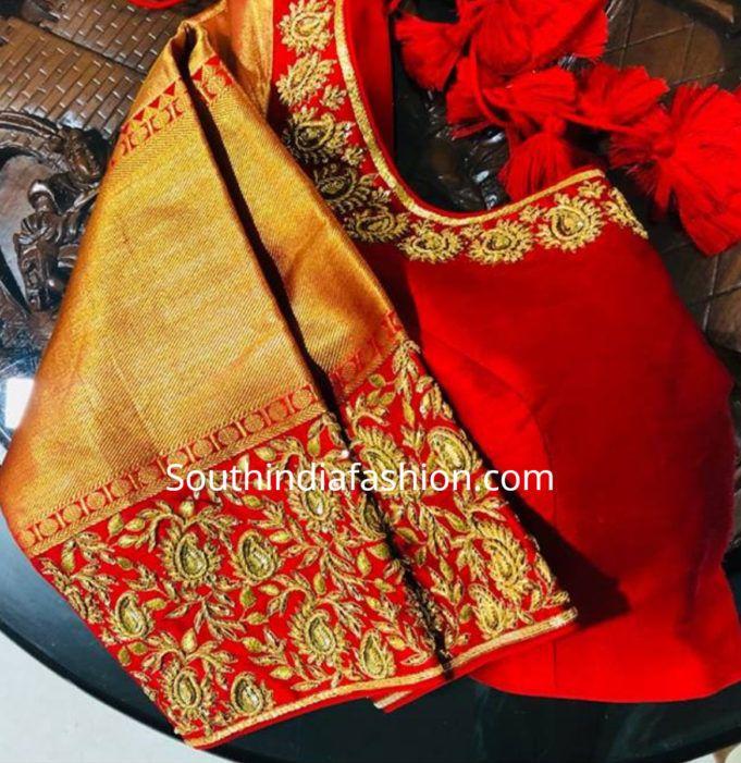 Blouse Designs For Pattu Silk Sarees (139)