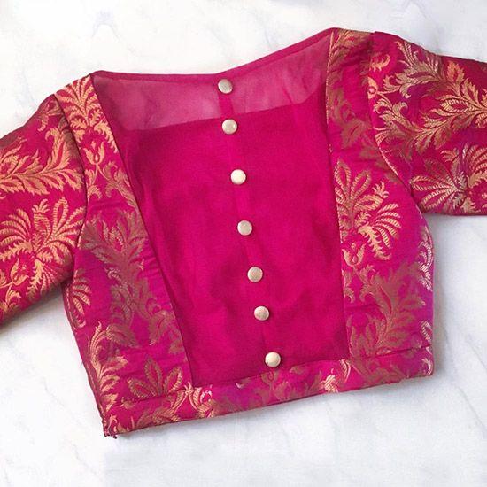 Blouse Designs For Pattu Silk Sarees (157)