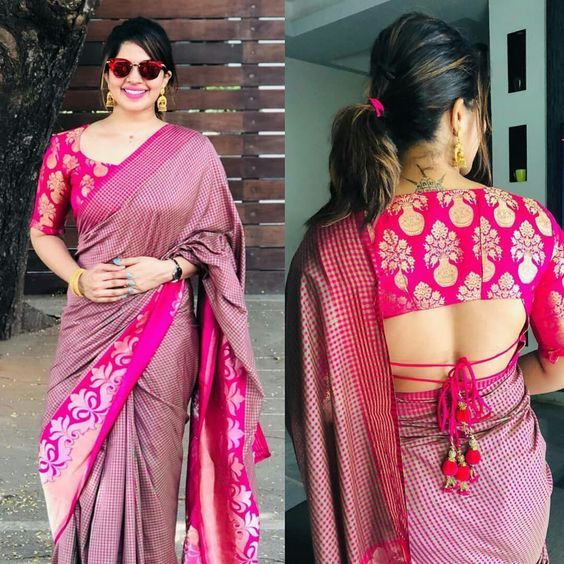 Blouse Designs For Pattu Silk Sarees (168)
