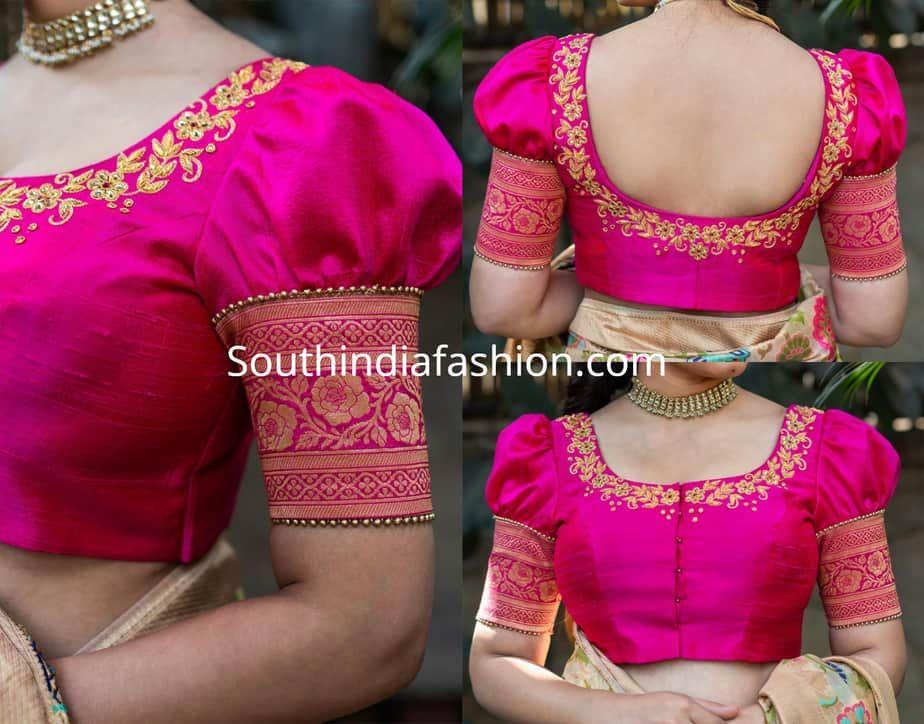 Blouse Designs For Pattu Silk Sarees (186)