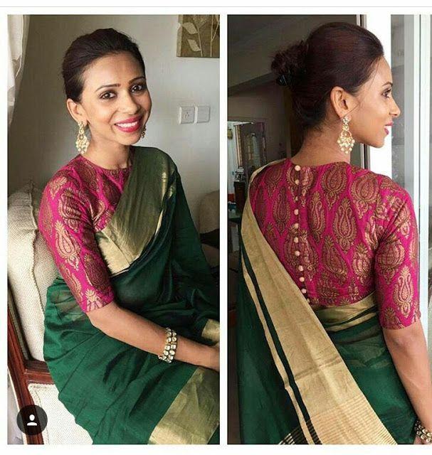 Blouse Designs For Pattu Silk Sarees (203)