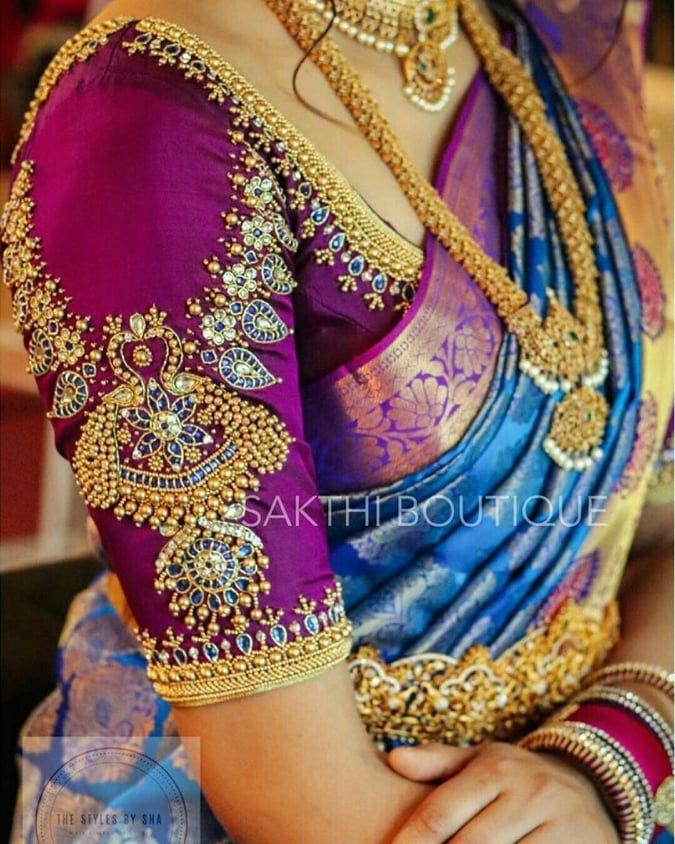Blouse Designs For Pattu Silk Sarees (212)