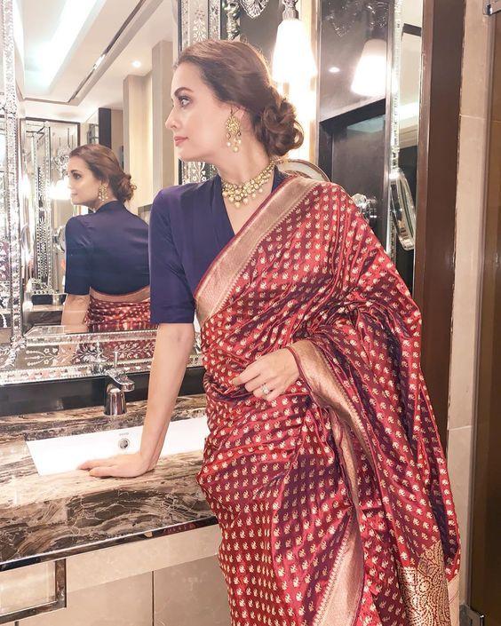 Blouse Designs For Pattu Silk Sarees (219)
