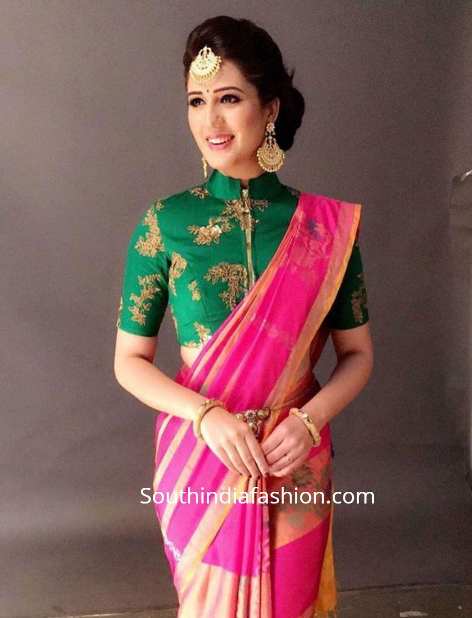 Blouse Designs For Pattu Silk Sarees (223)
