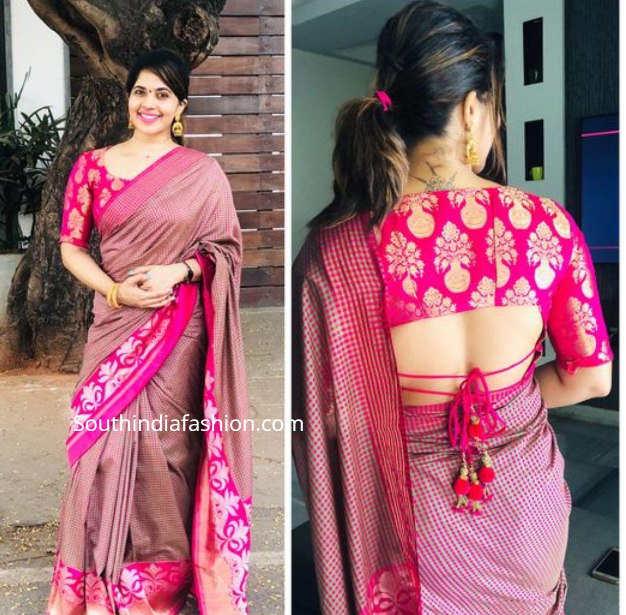Blouse Designs For Pattu Silk Sarees (241)