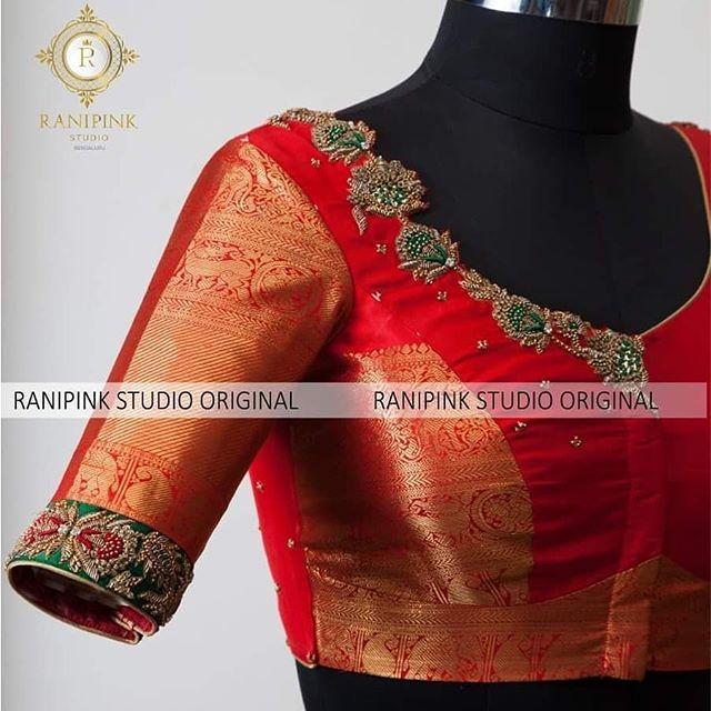 Blouse Designs For Pattu Silk Sarees (36)