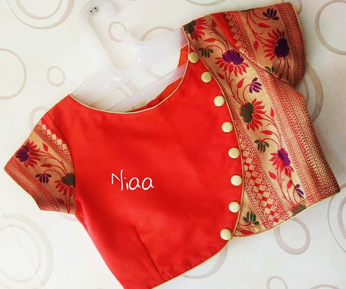 Blouse Designs For Pattu Silk Sarees (38)