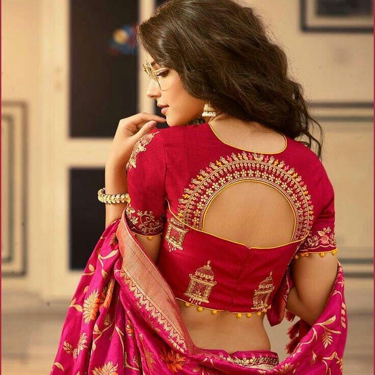 Blouse Designs For Pattu Silk Sarees (50)