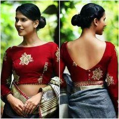 Blouse Designs For Pattu Silk Sarees (61)