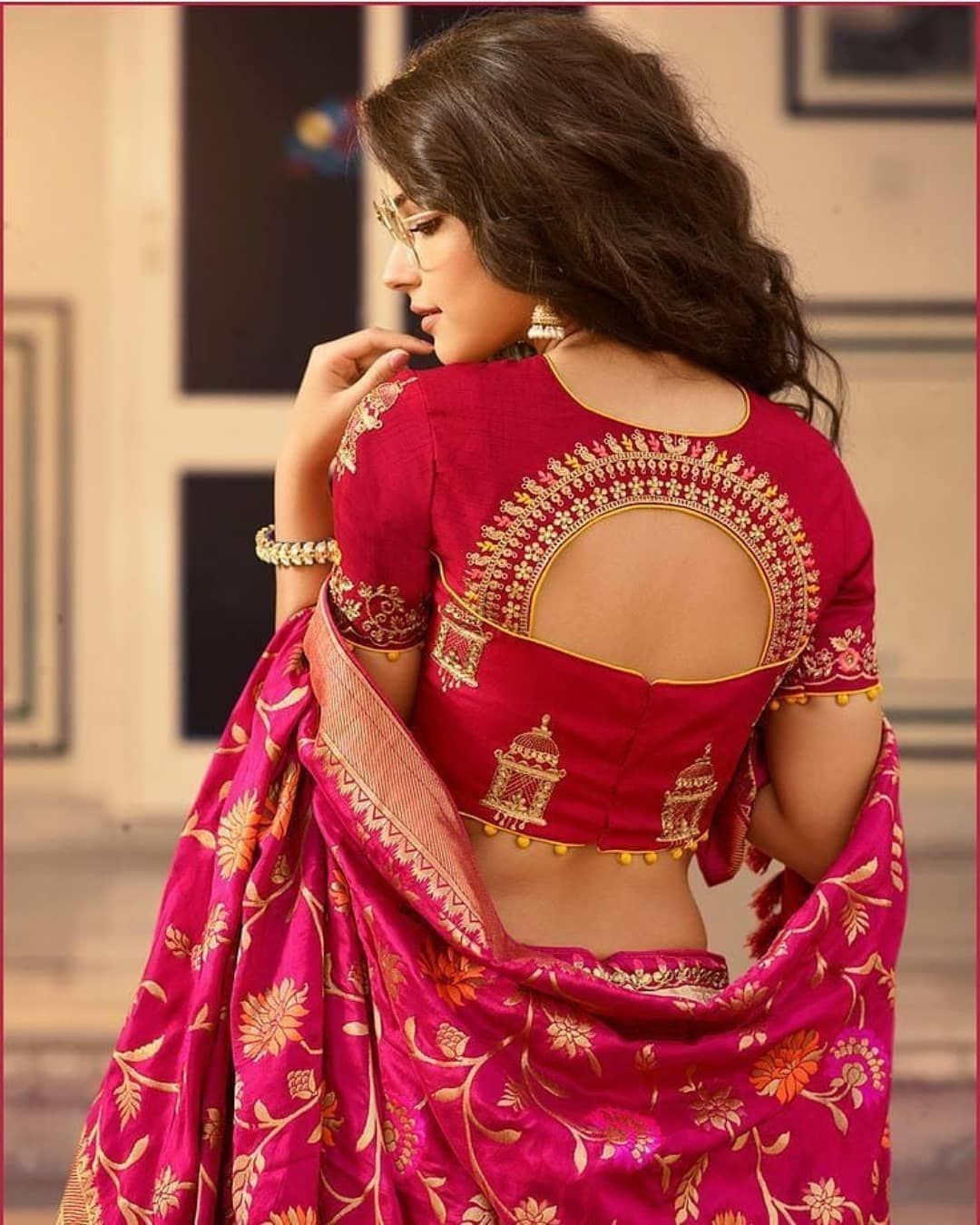 Blouse Designs For Pattu Silk Sarees (63)