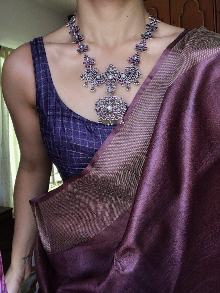 Blouse Designs For Pattu Silk Sarees (67)